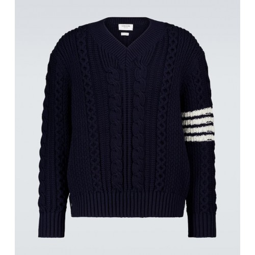 Boys Thom Browne - Aran cable knitted sweater P4RI45124