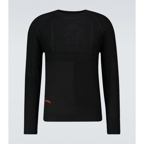 Men Alexander McQueen - Skull cable knitted sweater XXL On Sale D1ZA49472