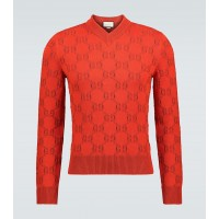 Young Men's Gucci - GG cotton jacquard V-neck sweater Oversized Top Sale YAGQD2210