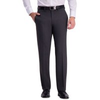 Haggar® Mens 4 Way Stretch Solid Gab Tailored Fit Flat Front Suit Separate Pants Chcoal Htr 60's MWWS868