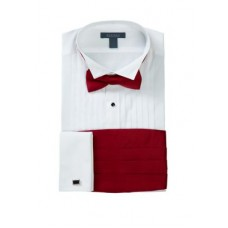 Madison Boy's Dress Shirts Slim Fit Wing Tip Red Bow Tie Boxed Tuxedo Shirt WHITE CQEA355