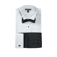 Madison Boy's Shirts Slim Fit Wing Tip Black Bow Tie Boxed Tuxedo Shirt WHITE in new look WODB421