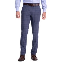 Kenneth Cole Reaction Young Men's Pants Stretch Bold Plaid Slim Fit Flat Front Dress Pants Dark Blue New LQZF207
