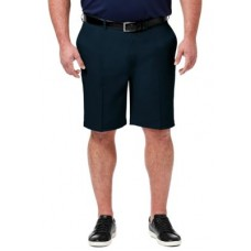 Haggar® Young Men's Flat Front Pants Big & Tall Classic Fit Flat Front Shorts Navy Elasticated Waist on style ZHCW653