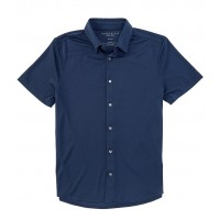 Perry Ellis Men Slim-Fit Pique Stretch Short-Sleeve Woven Shirt Ink Blue Extra Large Recommendations UNHPYNT