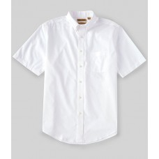 Roundtree & Yorke Gold Label Roundtree & Yorke Perfect Performance Short-Sleeve Non-Iron Solid Dobby Sportshirt White Slim Fit Trends OMSSGRJ