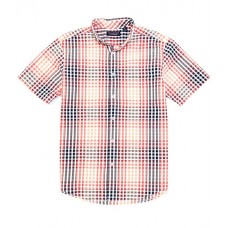 Roundtree & Yorke Multi-Color Short-Sleeve Plaid Seersucker Tailored to Wear Untucked Sportshirt Coral RSHJDCY