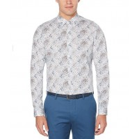 Perry Ellis Abstract Print Stretch Long-Sleeve Woven Shirt Bright White XXL guide SQAIIWH