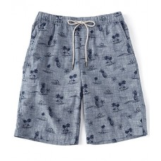Caribbean Men Printed Flat-Front 10 Shorts Navy 13 inch Inseam Business Casual KNMIRAW