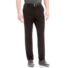 Perry Ellis Non-Iron Very Slim-Fit Solid Performance Flat Front Stretch Pants Black Elasticated Waist HSYHNNM